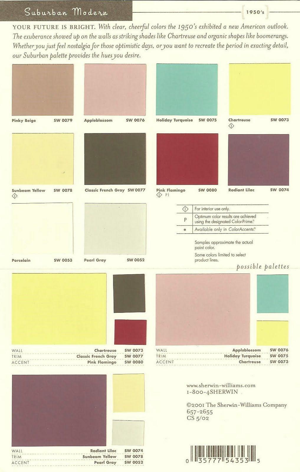 Mid century color palettes