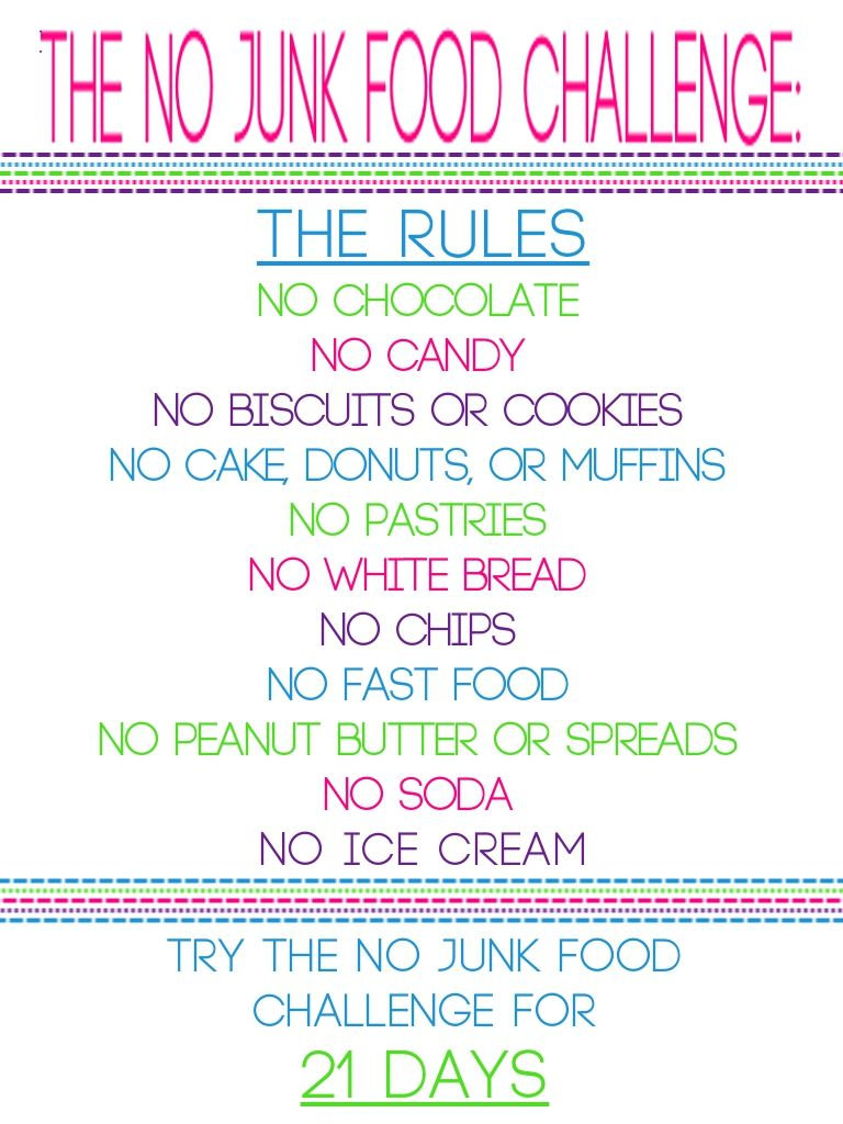 The no junk food challenge starting tomorrow lie part of diet plan extras and also rh za pinterest