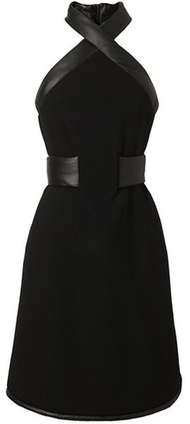 CHRISTOPHER KANE LONDON Leather Trimmed Crepe Wool Halterneck Dress