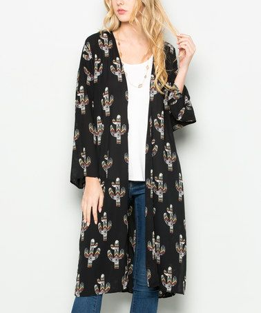Another great find on #zulily! Black Geometric Cactus Open Cardigan #zulilyfinds