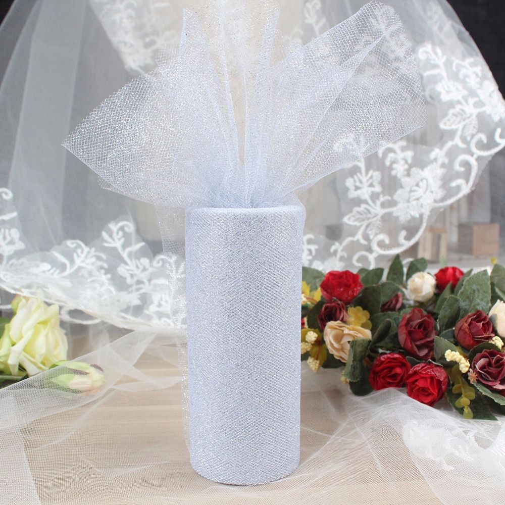 Wedding decorations home  Glitter Shimmering Tulle Roll yd Wedding Tulle Rolls Gift Bow