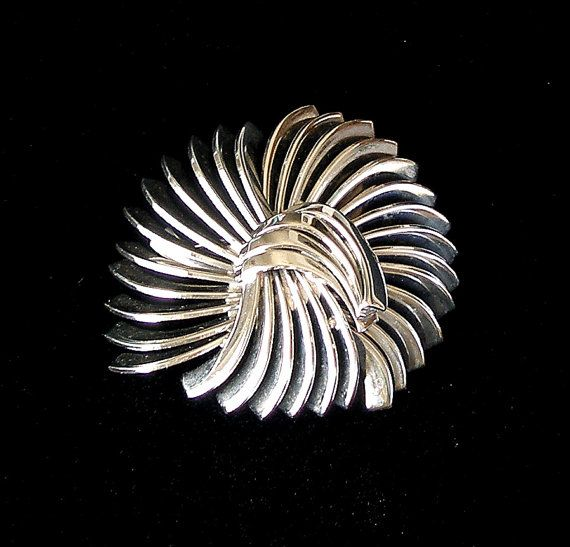 Art Deco Brooch Vintage Abstract Pin Machine Age Brooch Polished Chrome 1930s Jewelry