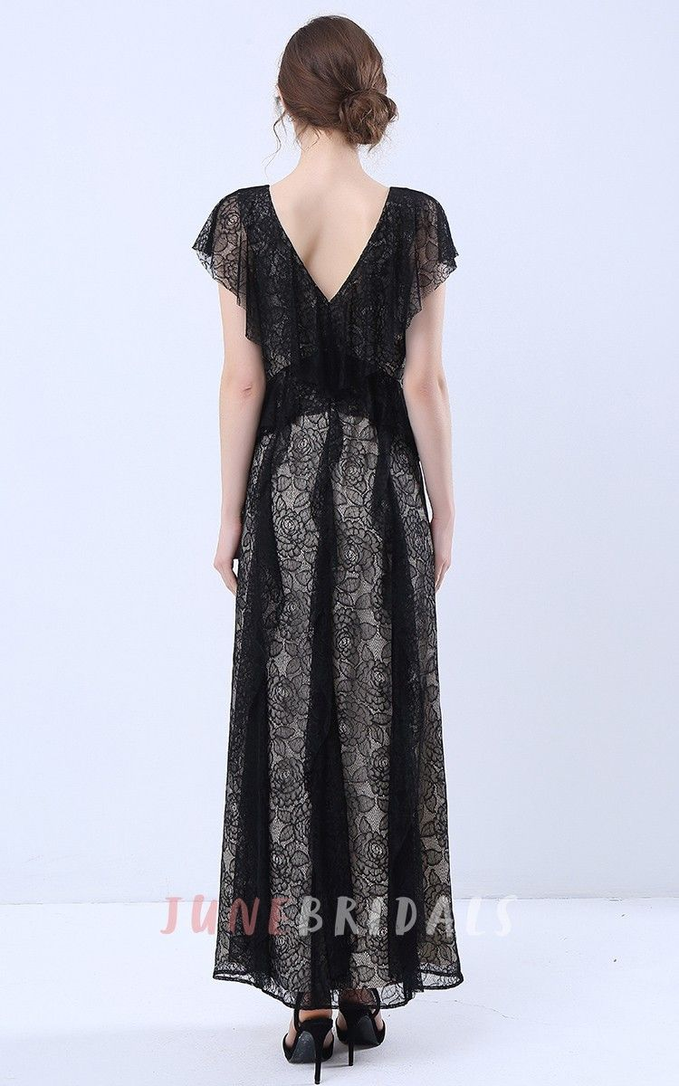 Lace v neck maxi dress  Cap Sleeve VNeck Maxi Dress with Lace Frills  Maxi dresses