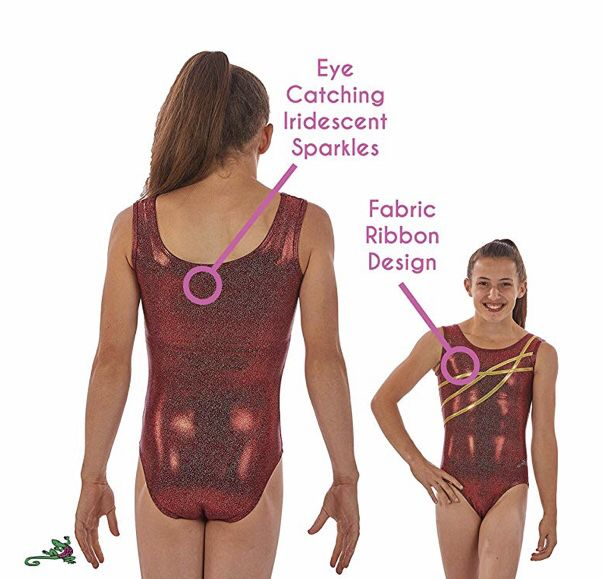 200608899e67 Tank style metallic gymnastics leotard with flexible