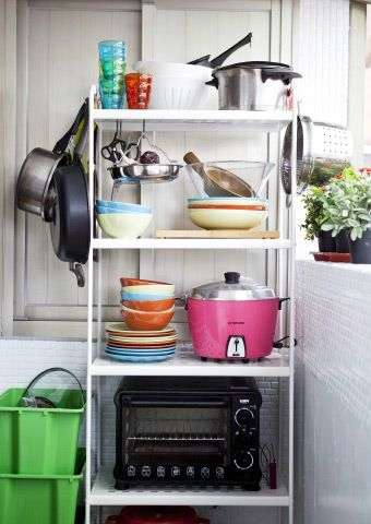 ta li added a shelving unit to his balcony for additional kitchen storage    ta li added a shelving unit to his balcony for additional kitchen      rh   pinterest com