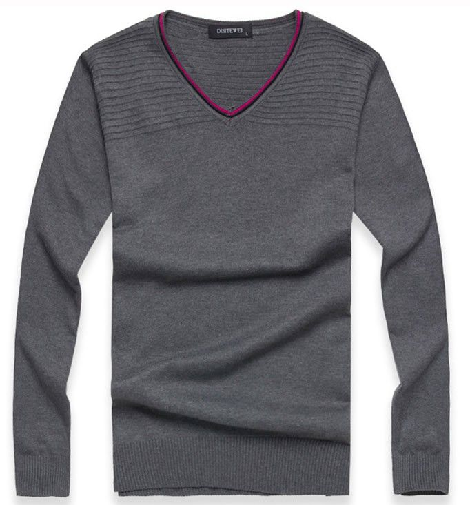 Autumn V-Neck Slim Vogue Contract Color Men Grey Knitting Sweater M/L/XL@SJ46493g