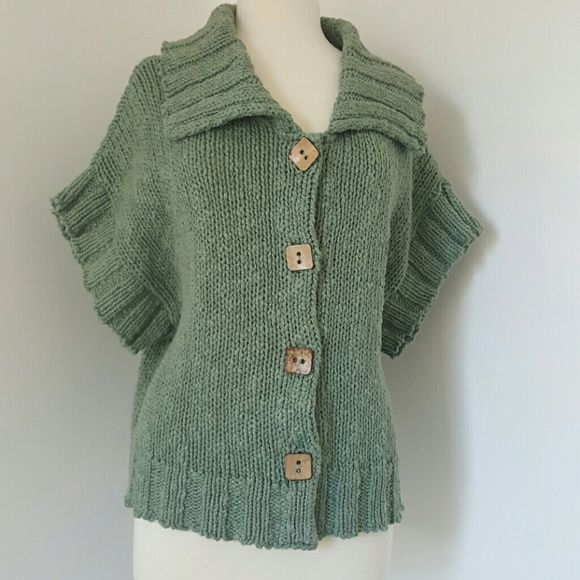 Green button up sweater Beautiful large knit sweater with cute square buttons. Sleeves are a bat wing style Willow Sweaters Cardigans