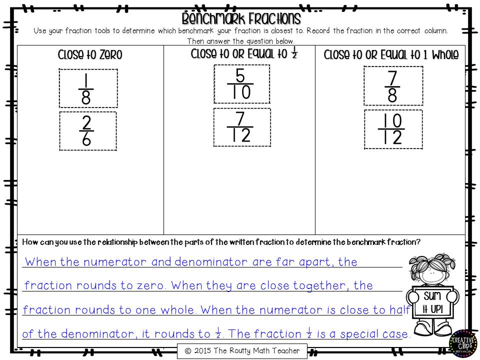 The Routty Math Teacher: Thursday Tool School: Understanding Fractions- Benchmark Fractions