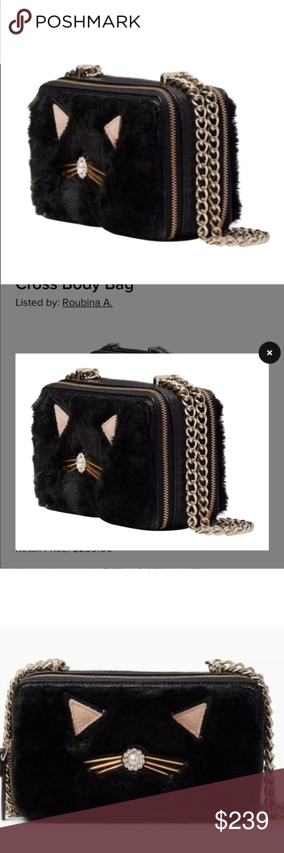 """Kate Spade Black Fur Cat Crossbody authentic Bag Kate Spade Brighton Lane Authentic Black Fur Cat Crossbody Bag. Adorable faux fur with leather sides and bottom. Matching wallet also available in my closet. #0841 #0842  Approx size: 7.5""""W x 4.5""""H x 2.5""""D Drop length approx 23"""" for Crossbody Drop length approx 12.5"""" chain double  Double zipper opening 2 separate compartments Interior zipper pocket 7 interior card and money slip pockets Authentic Crossbody Kate Spade Brighton Lane Bag Marigold Fur"""