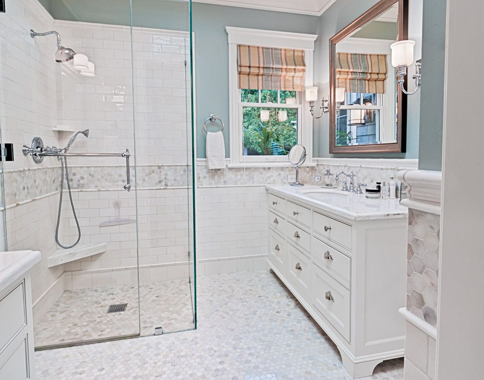 bath with carrara marble on counters in and in shower - Google ...