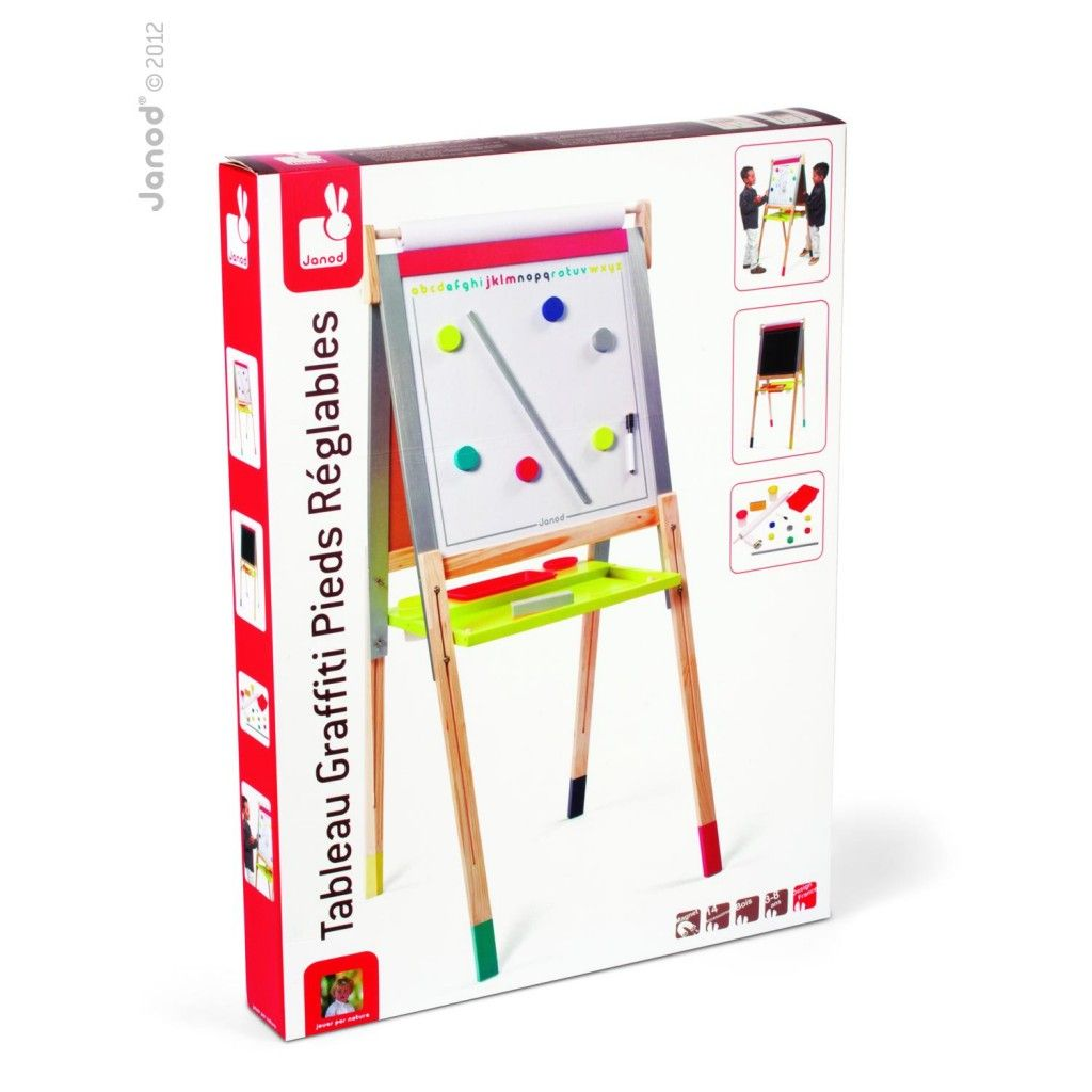 Janod Height Adjustable Black and White Board | Magnetic white board ...