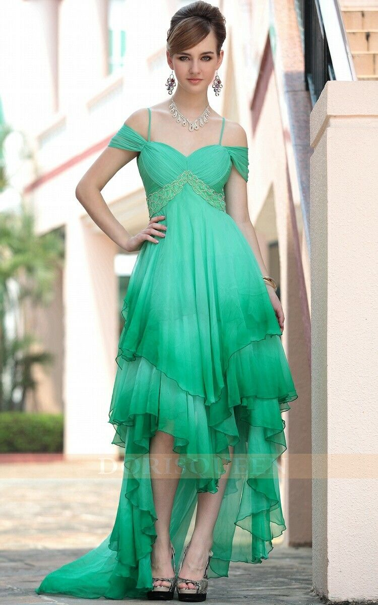off-the-shoulder +spaghetti straps green Christmas party dresses ...