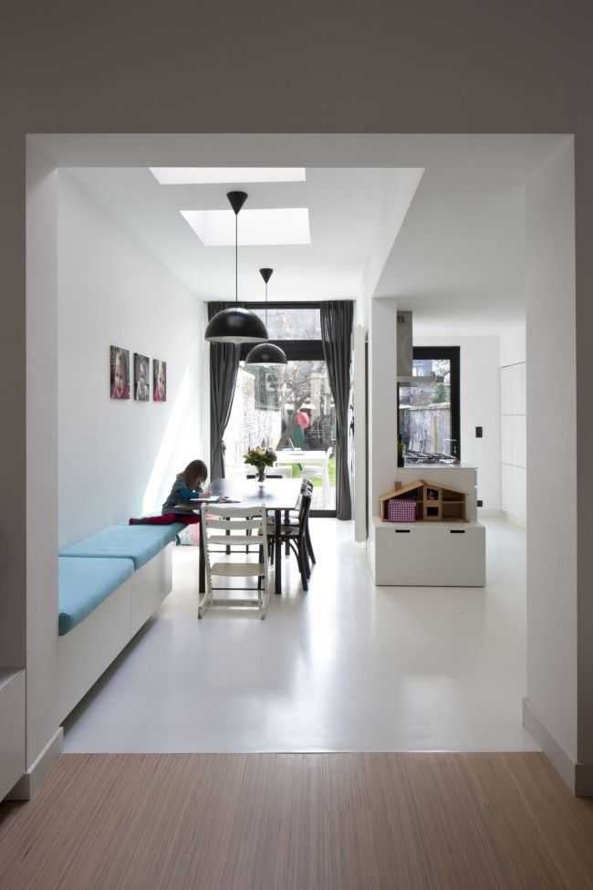 Houten Keuken Gietvloer : PU gietvloer gecombineerd met houten vloer Vloeren