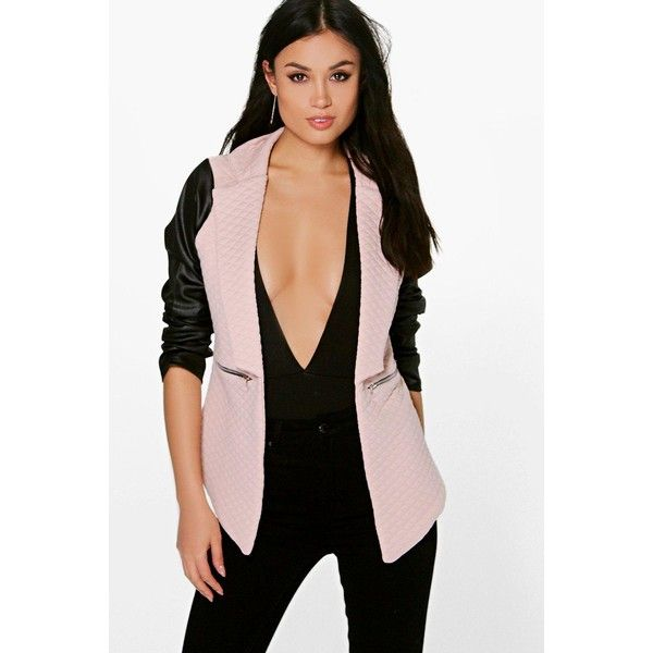Boohoo Lily Leather Look Sleeve Quilted Blazer ($35) ❤ liked on Polyvore featuring outerwear, jackets, blazers, nude, puff jacket, duster coat, blazer jacket, vegan leather jacket and puff sleeve jacket