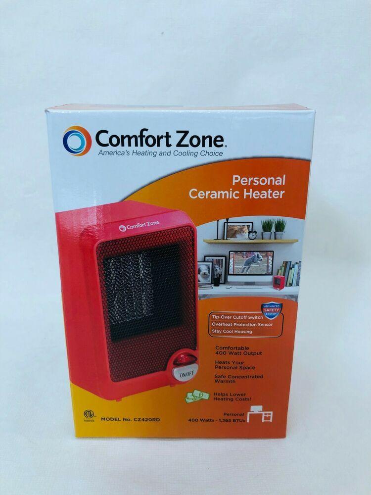 Comfort Zone Cz420rd Personal Ceramic Desktop Heater 400 Watts