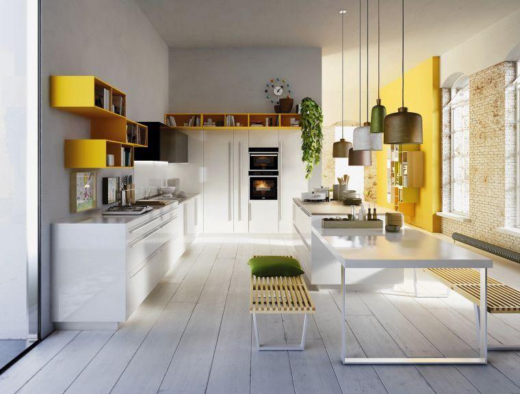 Cuisine Grise Et Blanche Avec Peinture Moderne Et Decoration Avec Touches De Jaune Kuchen Design Kuchendesign Moderne Kuche