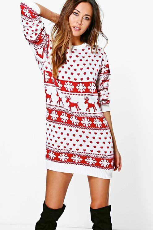 Women Christmas Sweater Dress.Lottie Reindeers Snowflake Christmas Jumper Dress Baby