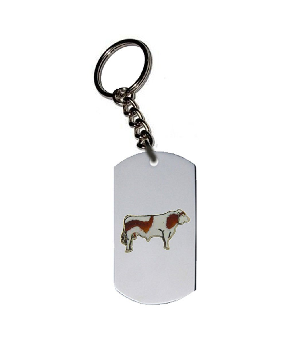 Emblem Key Chain W Metal Ring Animal Cattle Bulls And Buffalo Simmental Bull Wow I Love This Check It Out Dog Tags Pet Cat Accessories Metal Rings