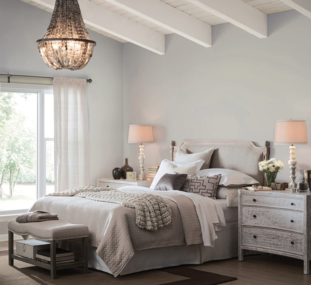 Light French Gray Sw 0055 Review Grey Bedroom With Pop Of Color