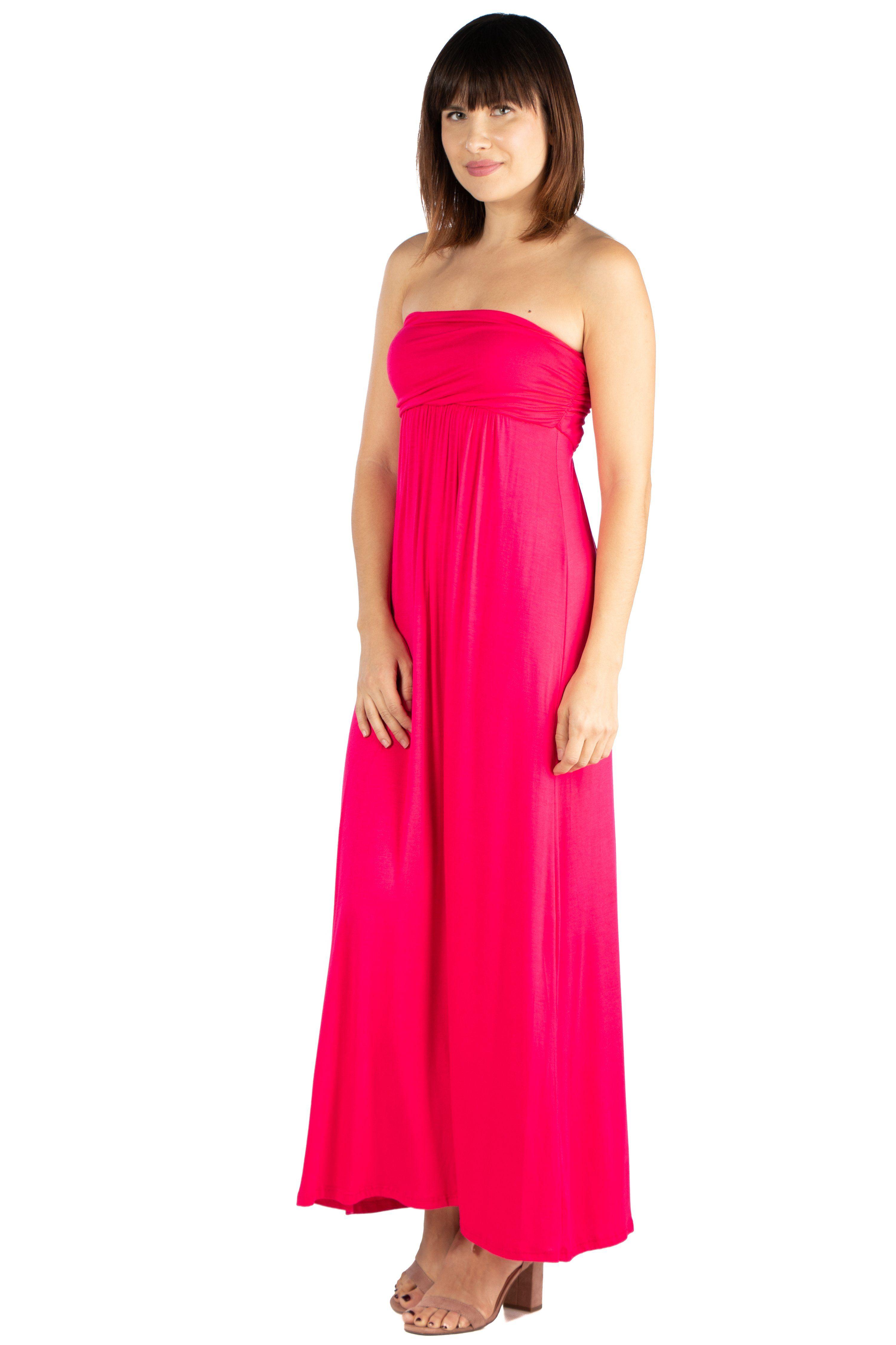 4ef9fe064a72 Women's Solid Color Empire Waist Strapless Maxi Dress Strapless Maxi Dress  This strapless maxi dress is