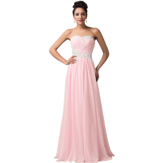 Light Pastel Pink Long Strapless Women's Formal Dress ...