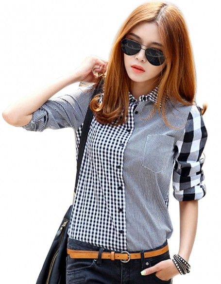 789ed546 Click to Buy << 2016 New Fashion Button Down Shirt For Women Casual Lapel Shirt  Long Sleeve Plaids Checks Shirt Top Blouse #Affiliate