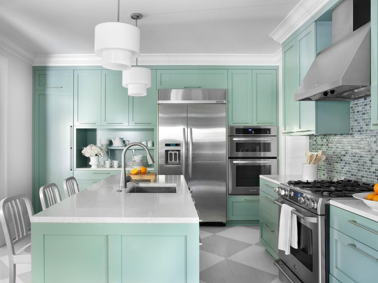 Color Ideas for Painting Kitchen Cabinets Hgtv Pictures Paint. Glossy White Kitchen Cabinets. Kitchen White Cabinet Dark Grey Floor Tiles Lovely Kitchens. The Look Two Tone Tuxedo Kitchen Counter Top