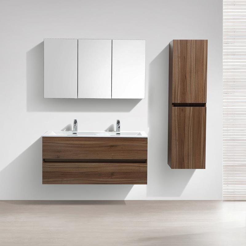 Meuble salle de bain design double vasque SIENA largeur 120 cm noyer