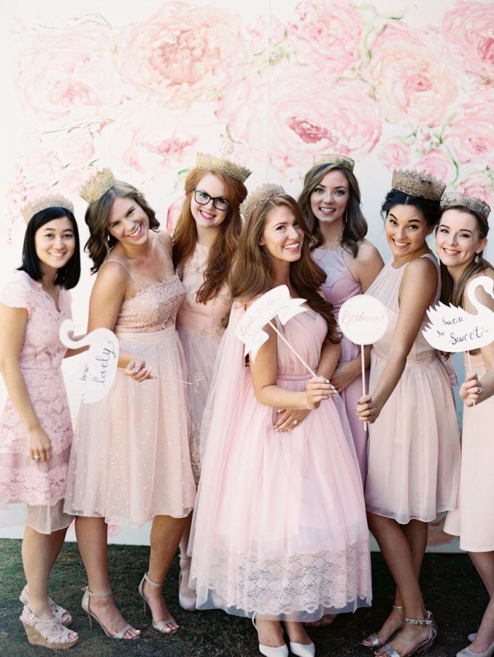 Bride and be and bridesmaid in pink | fabmood.com #pinkdress #promdress #1950sdress #1950s #bridalshower #pink #bridesmaids