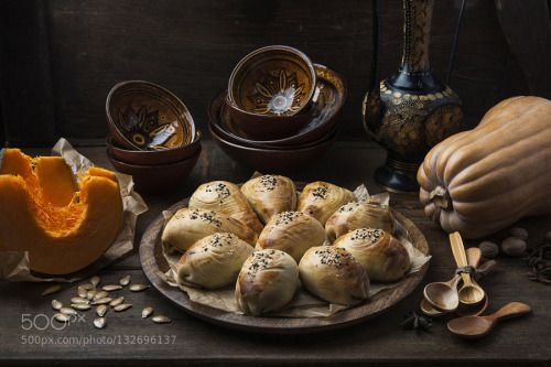 Samsa with a pumpkin by hopoved  IFTTT 500px asian bakes brown cakes dessert food indoor old pumpkin rustic rustic style seeds tast