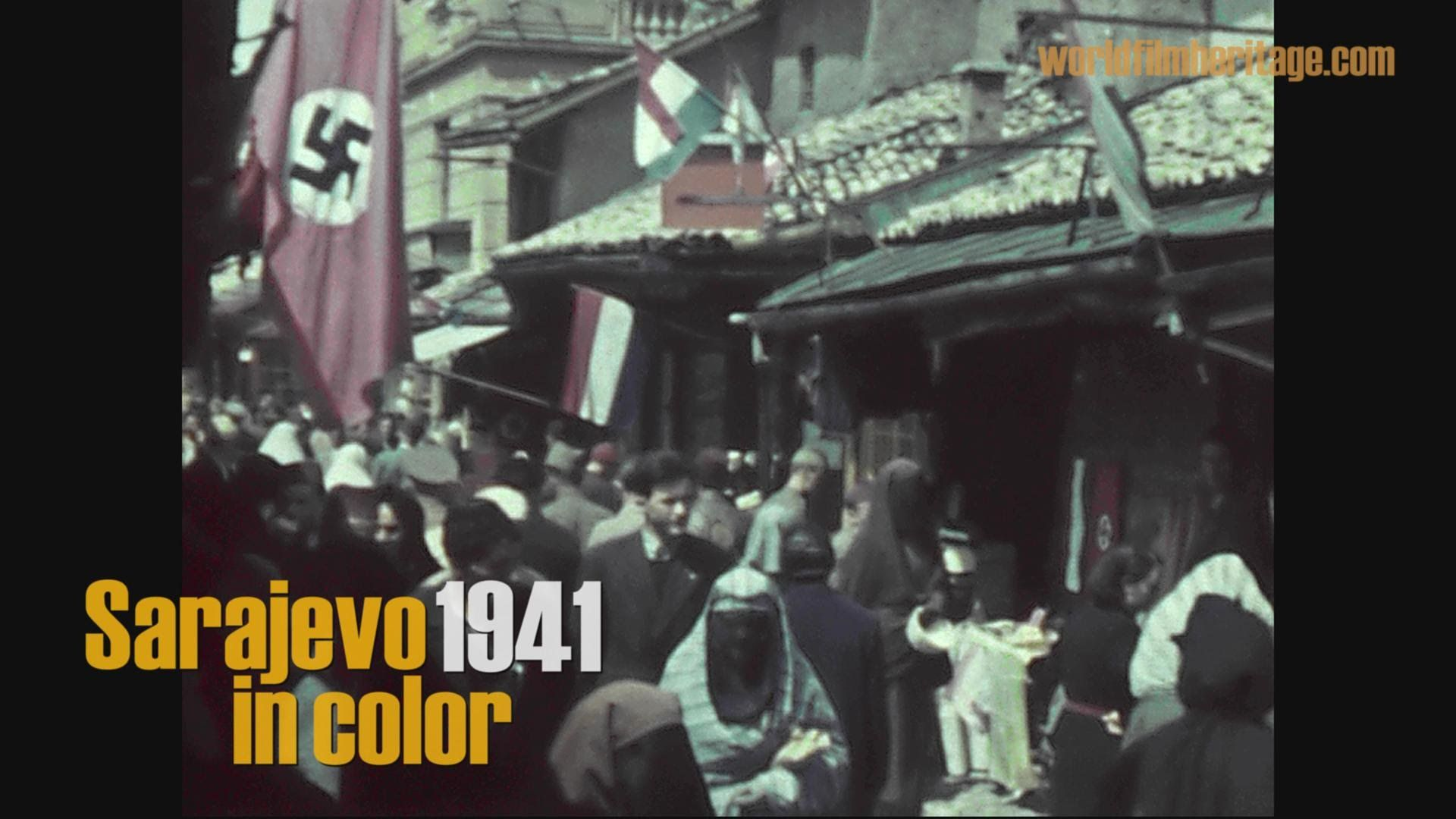Unique historic color film-footage shows the City of Sarajevo during