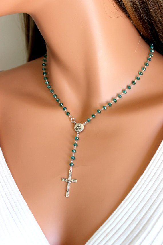 Rosary Necklace Sterling Silver Aqua Crystal Rosaries Crucifix Cross Religious Spiritual Christian C #rosaryjewelry