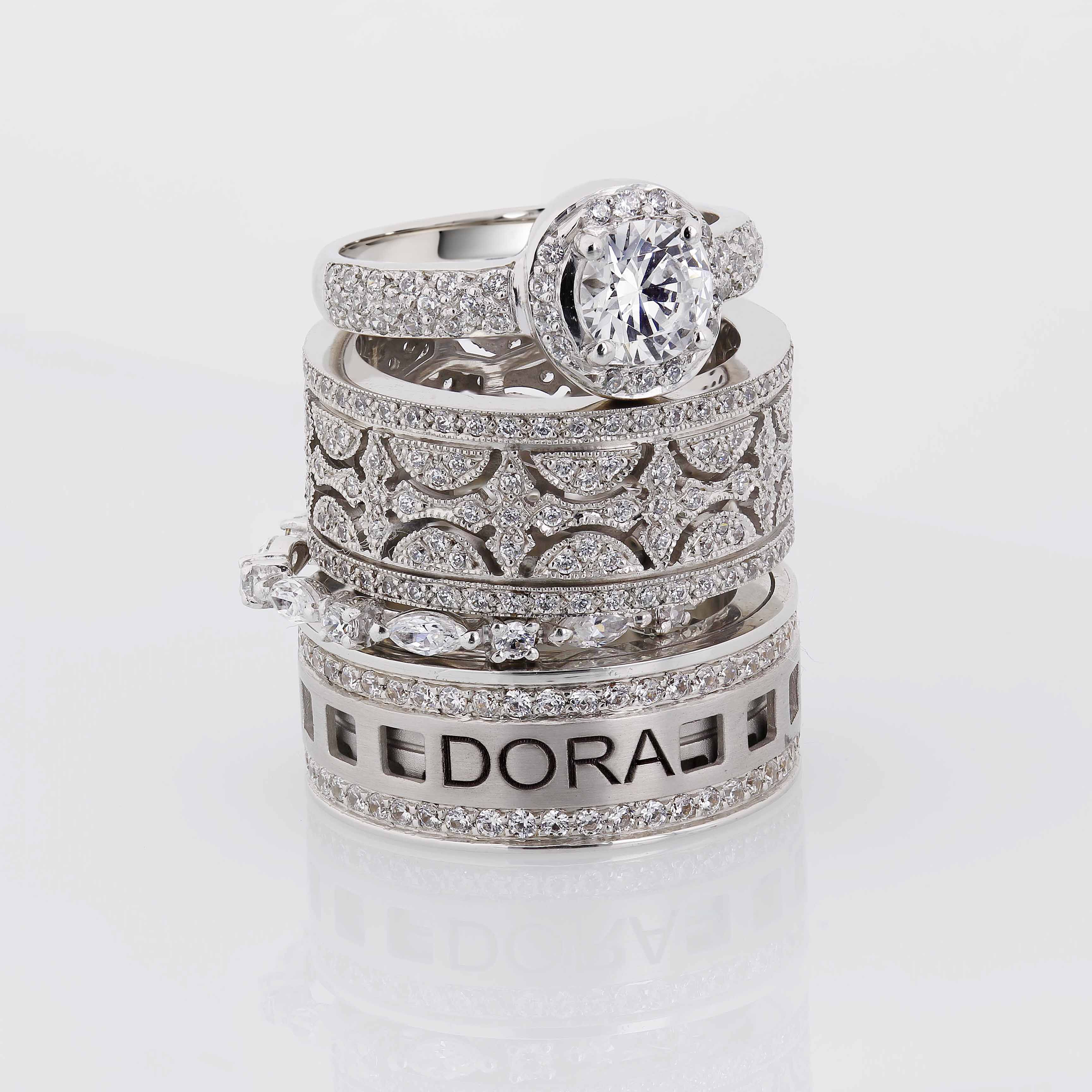 Stack them up! Make your combination with Dora Rings!  #dorarings #stackables #diamonds http://dorarings.com/
