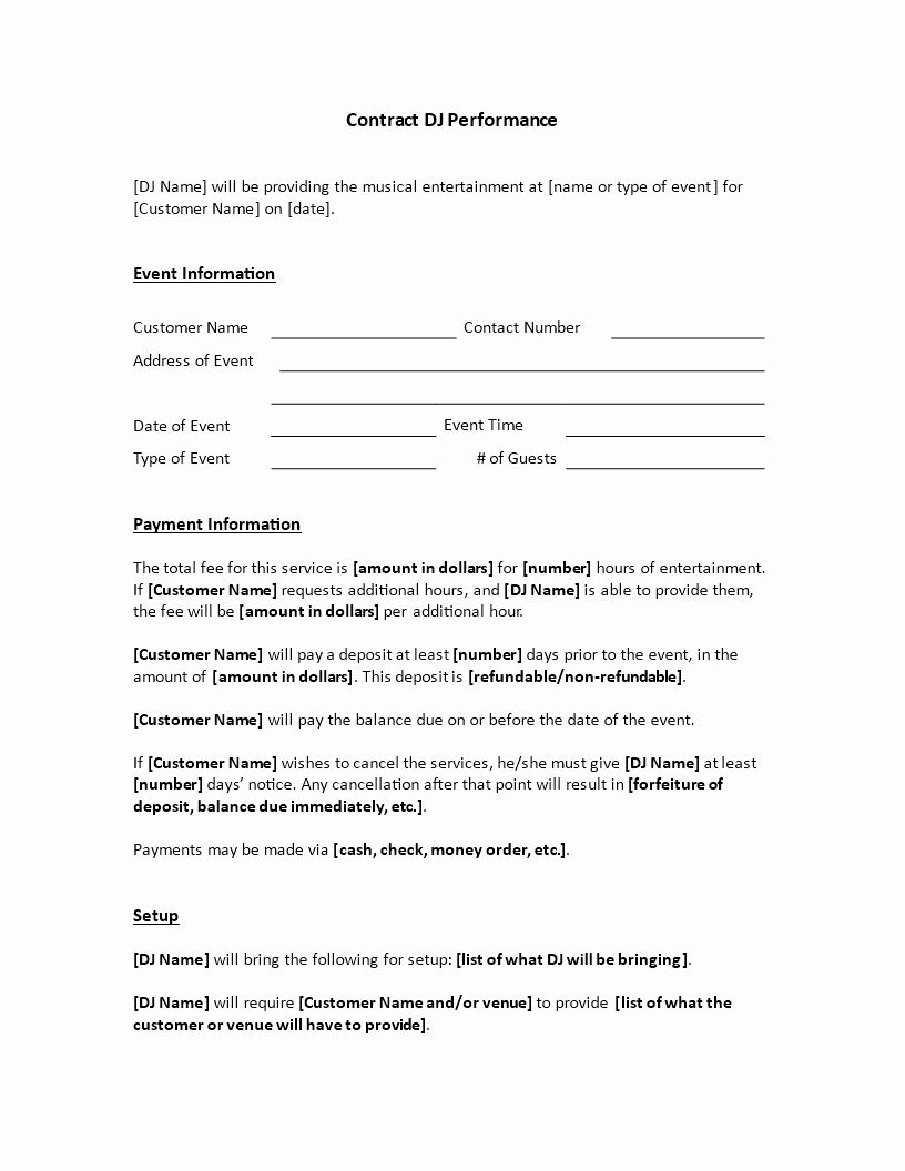 Venue Rental Agreement Template New Dj Services Contract are You Hiring A Diskjockey for An