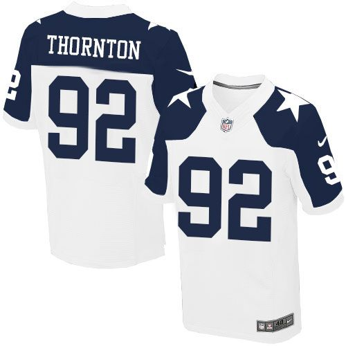 ... Mens Nike Dallas Cowboys 92 Cedric Thornton Elite White Throwback  Alternate NFL Jersey ... ddf8419cf