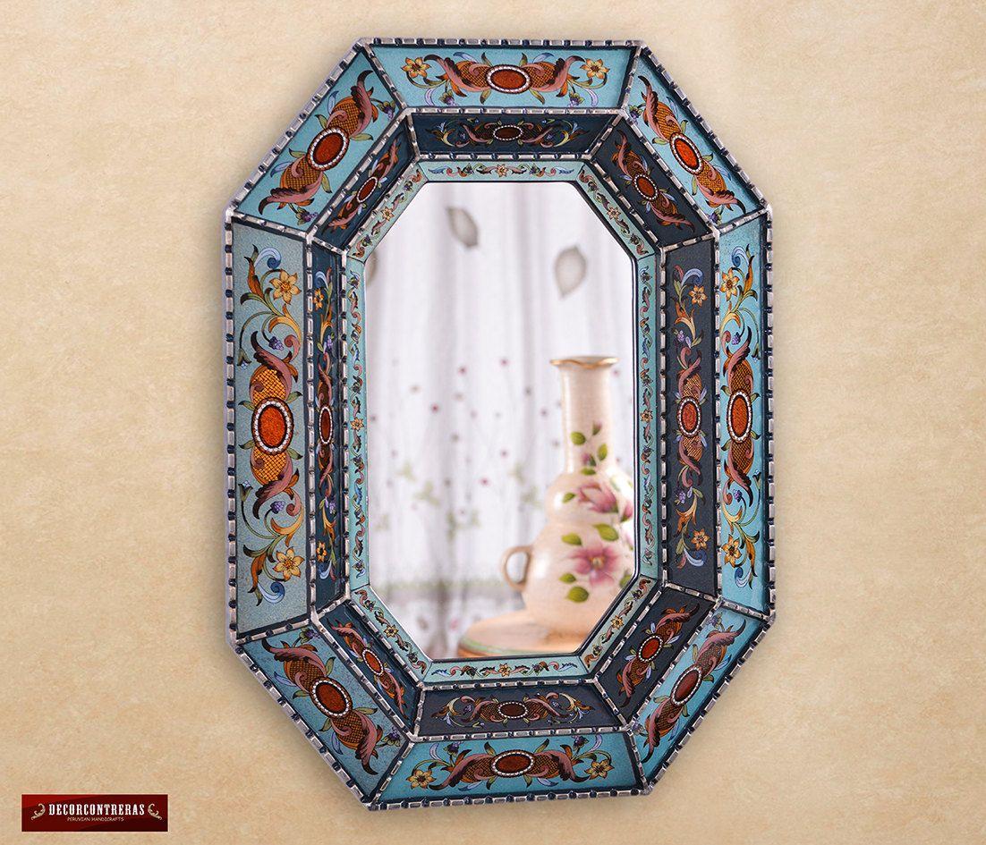 espejo Decorativo Octogonal colonial estilo vidrio pintado, \