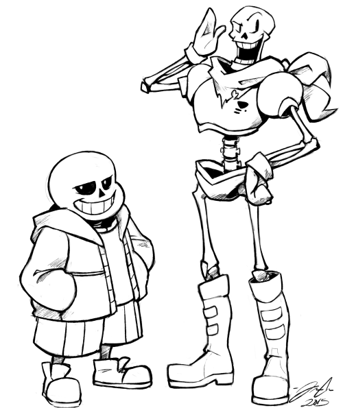 I finally gave in and drew the skelebros might color this for Sans coloring page