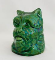 "Antique GREEN MAJOLICA CAIRN TERRIER DOG'S HEAD BANK  3.25""X 2.75"" French"