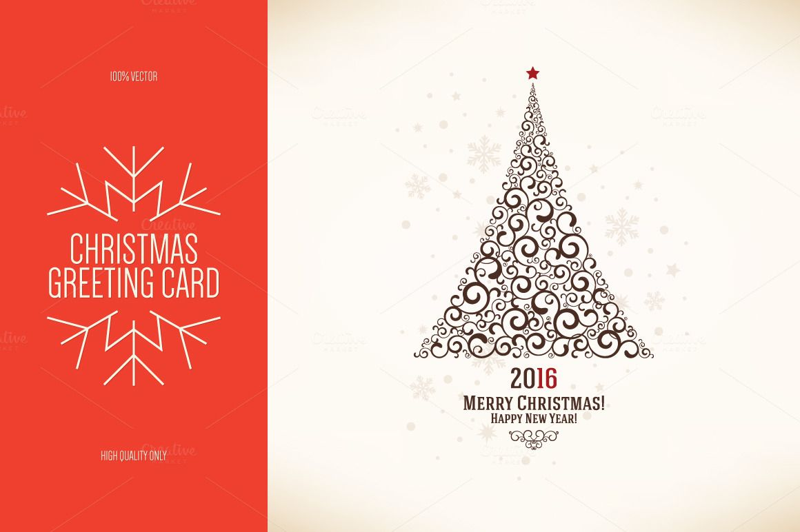 Christmas And New Year Greeting Card Christmas Card Template New Year Greeting Cards Greeting Card Template