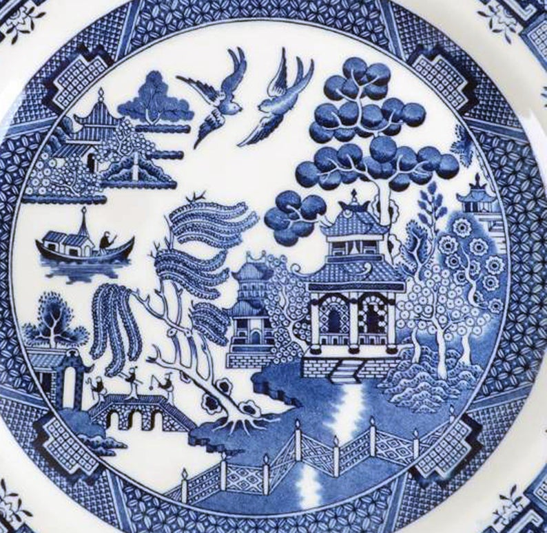 Vintage 1980s Churchill China Blue Willow Dinner Plate Blue And White Chinoiserie Motif Made In England In 2020 Blue Willow Chinoiserie Motifs Willow Pattern