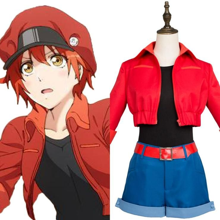 Erythrocite Red Blood Cell Cosplay Costume Outfit Uniform Anime Cells at Work