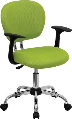 flash furniture mid back mesh task chair fixed arms green