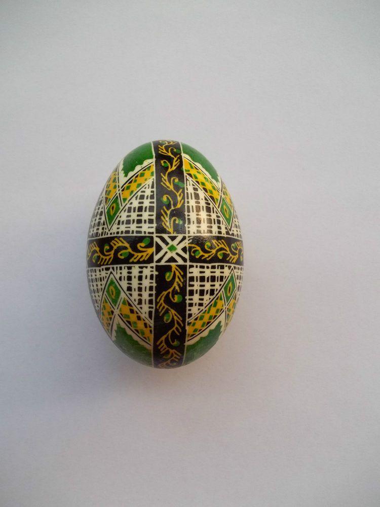 1 Romanian Romania Bucovina handmade pysanky pysanka pisanki DUCK egg green #egg