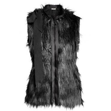 USD33.99Fashion O Neck Zipper Regular Short Sleeve Black Faux Fur Coat