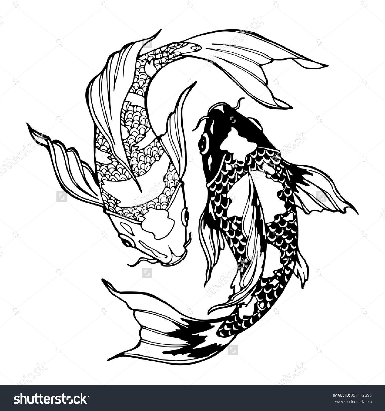 illustration of koi carp coloring page yin yang - Yin Yang Coloring Page