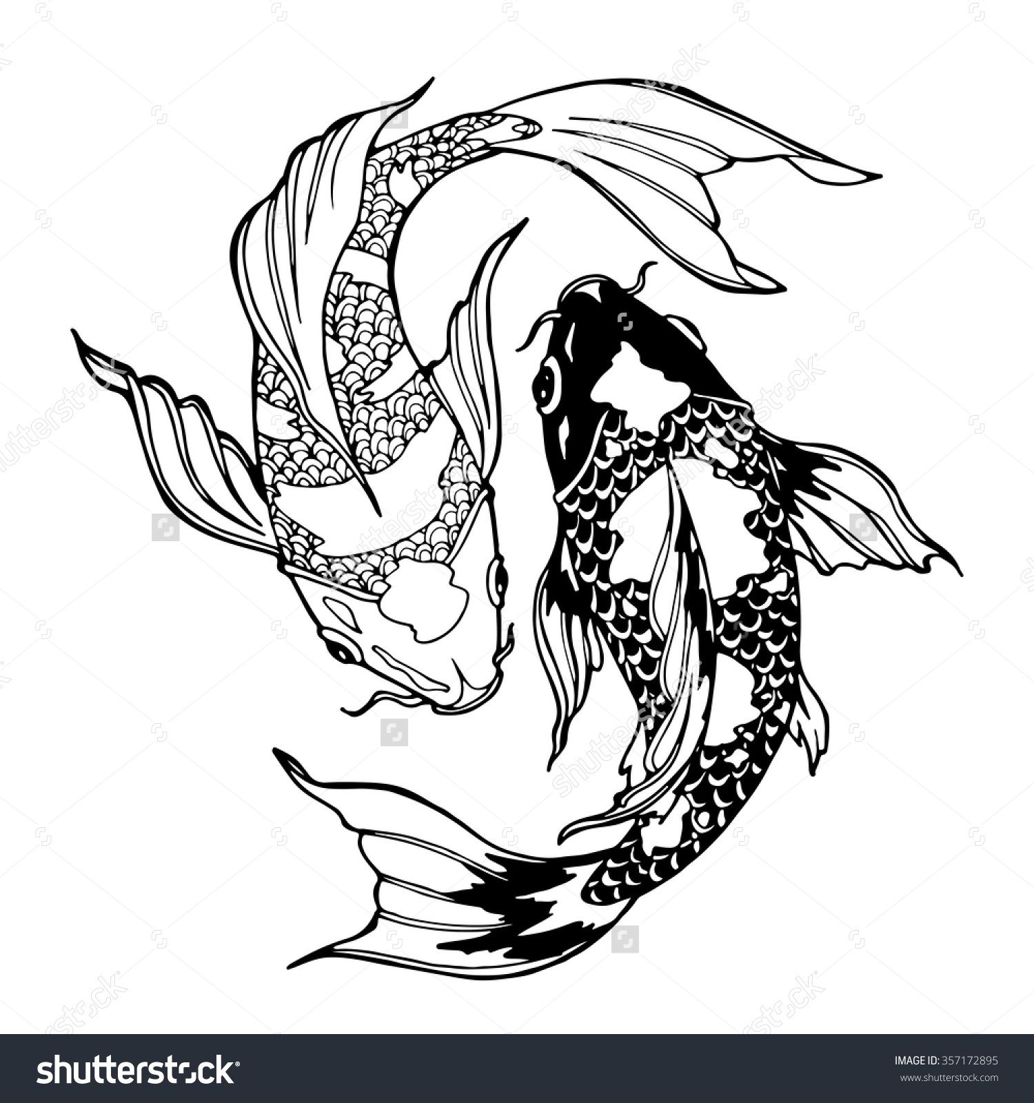 Illustration Of Koi Carp Coloring Page Yin Yang 357172895