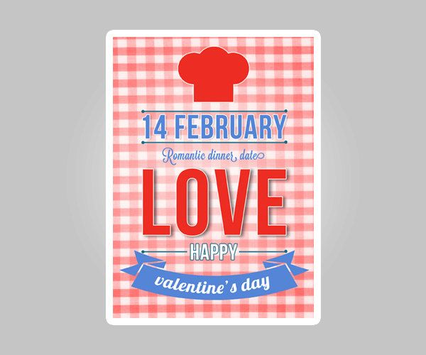 Printable Valentines day card 5x7 pdf jpg Happy Valentines Day Card, valentines day romantic dinner date typography red blue