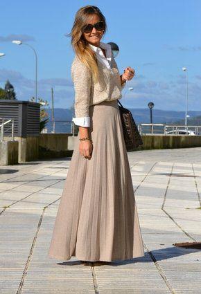 vasta selezione di 0798f 1f59e gonnellone beige plissettato | 30's Style | Gonne lunghe ...