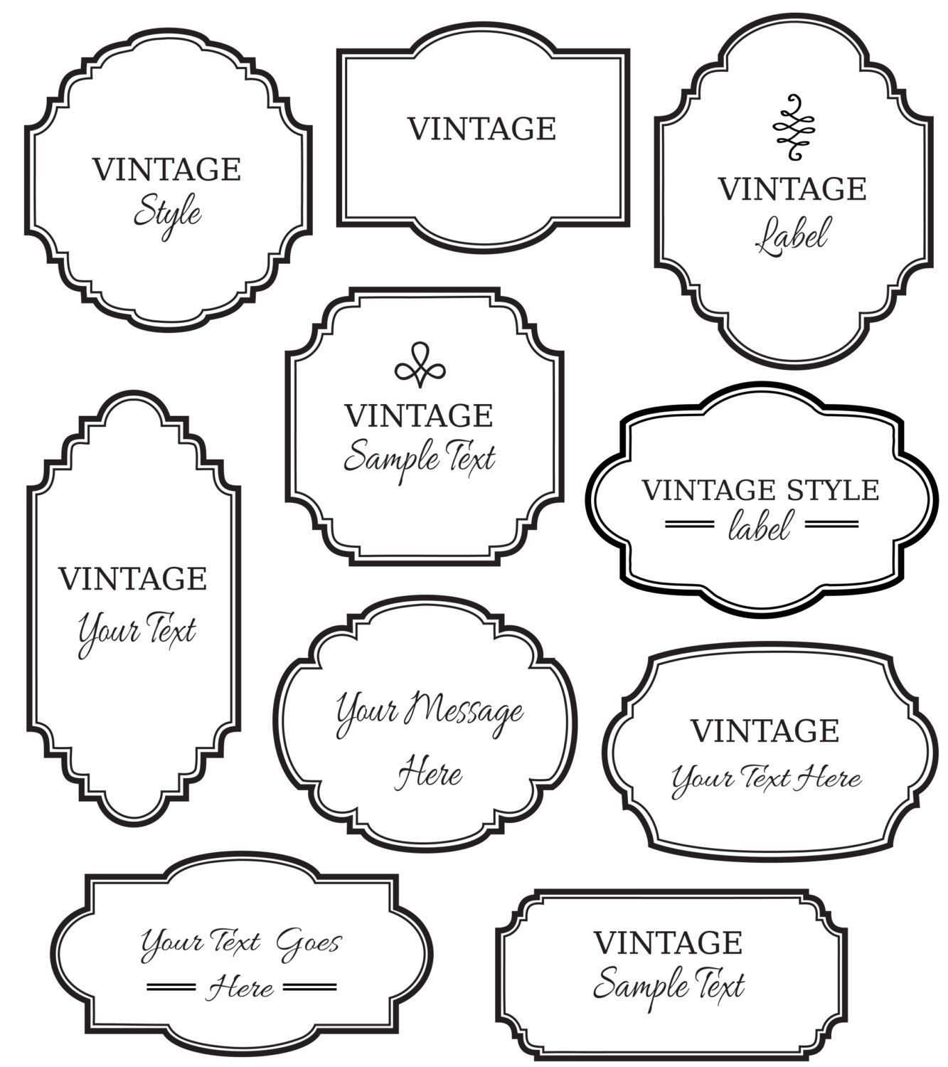 vintage labels clip art // digital frames png vector // apothecary