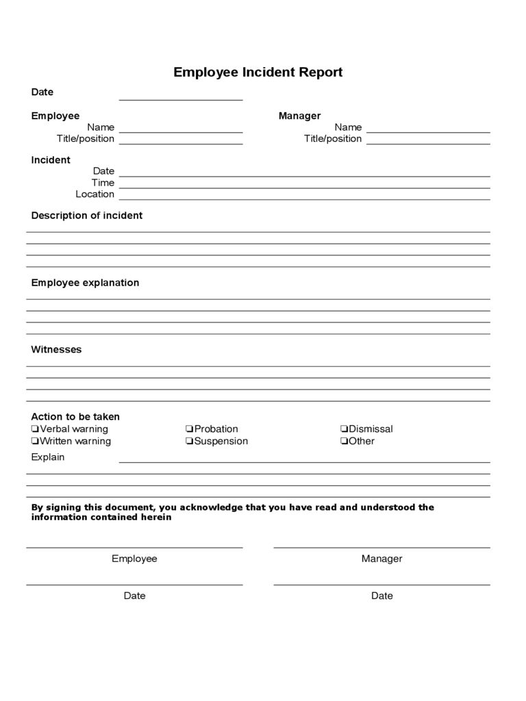 Employee Incident Report 4 Free Templates In Pdf Word Inside Incident Report Form Template Word Best Incident Report Form Incident Report Report Templates